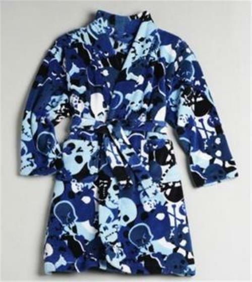 ab0a29cdf Joe Boxer Skull   Bones Blue Camo Fleece Bath Pajama Robe Boys Size ...