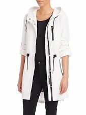 NWT Women's MACKAGE Norma Hooded Parka Raincoat Anorak Jacket White M