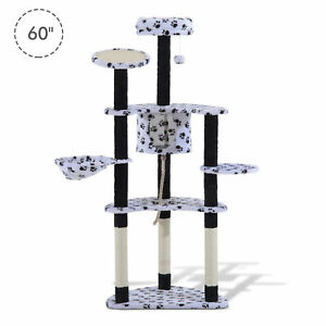 Multilevel-60-034-Cat-Scratching-Tree-Tower-Post-Condo-Cat-House-Pet-Furniture