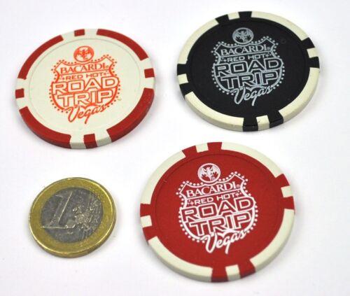 Set mit 3 Bacardi Rum USA Fledermaus Logo Poker Chips Token Las Vegas Road Trip