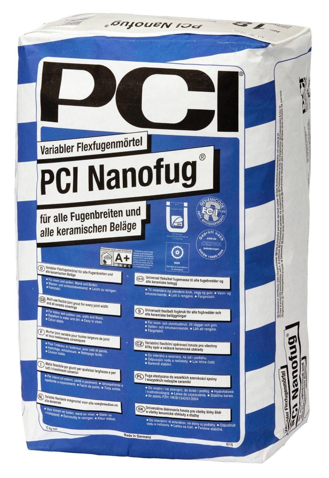 PCI Nanofug 15 kg 11 Farben Flexfugen-Mörtel Fugenmasse Flexfuge Bad Flur