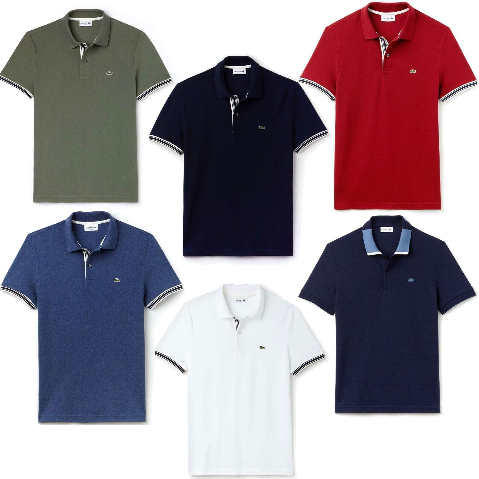 NEW Lacoste Men's 100% Cotton Semi Fancy Slim Fit Short Sleeve Polo T-Shirts