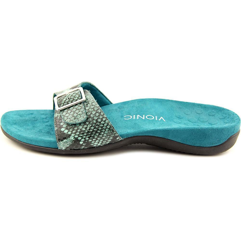 Vionic Women's Rest Santos Orthoheel Slide-On Sandals Teal Snake