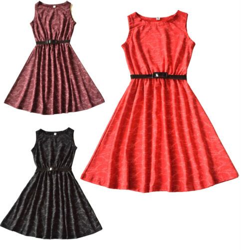 Girls Kids New tie /& dye Print party Sleeveless Skater  dresses 5 to 13 Years