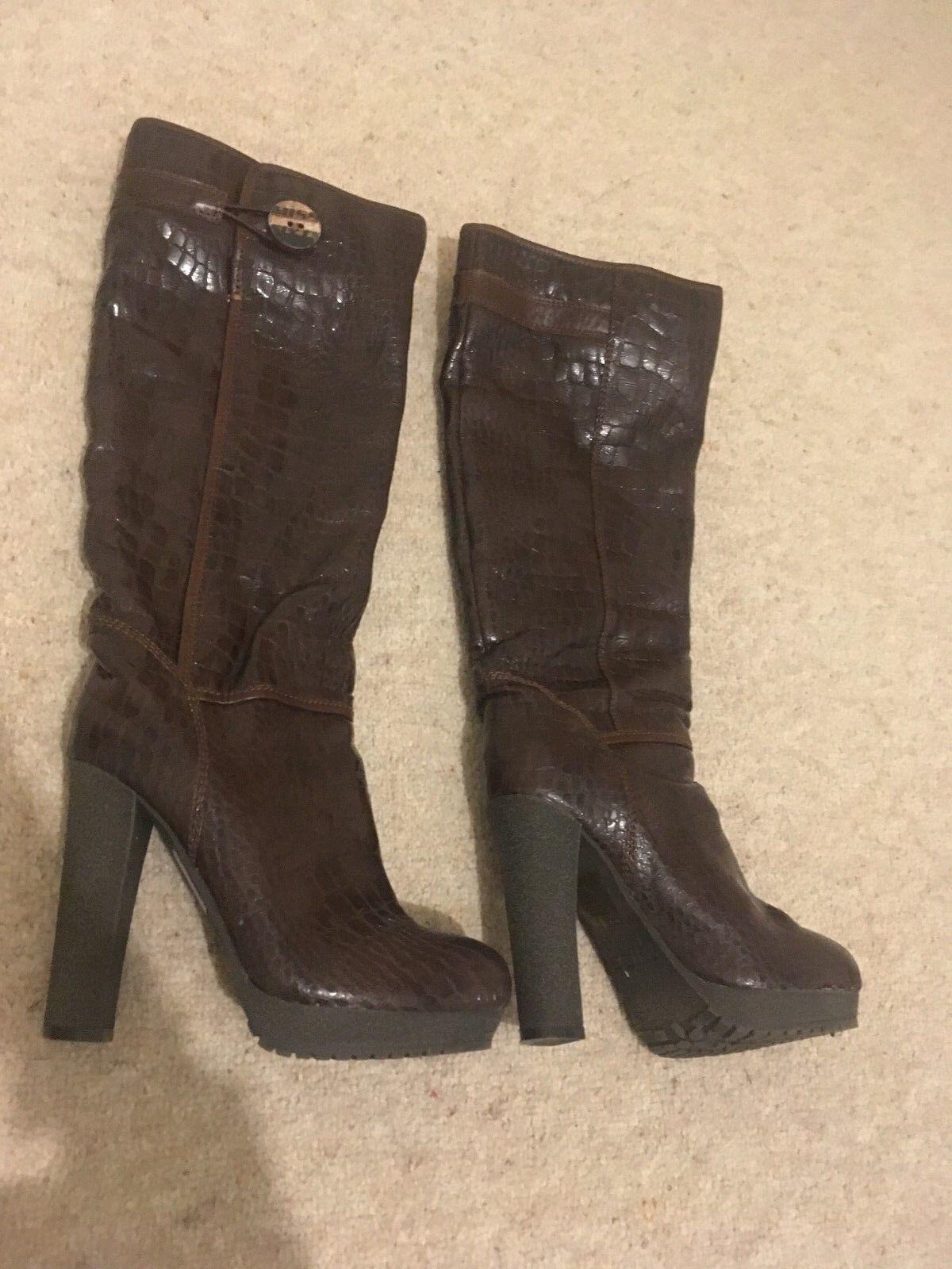 Miss Sixty braun Mock Croc Knee Length Stiefel with Platform Größe 4 37