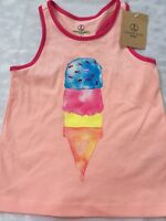 Girls 5 6 Lands End Ice Cream Tank Top Racerback Coral Peach