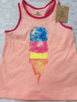 Girls 5 6 Lands End Ice Cream Tank Top Racerback Coral Peach