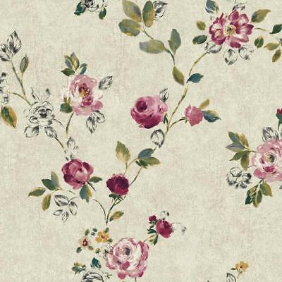 Wallpaper Designer Purple Green White Yellow Teal Black Rose Vine