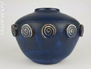 Very-RARE-Vintage-Blue-CERAMANO-039-CASTELL-039-Vase-West-German-Pottery-Fat-Lava-Era