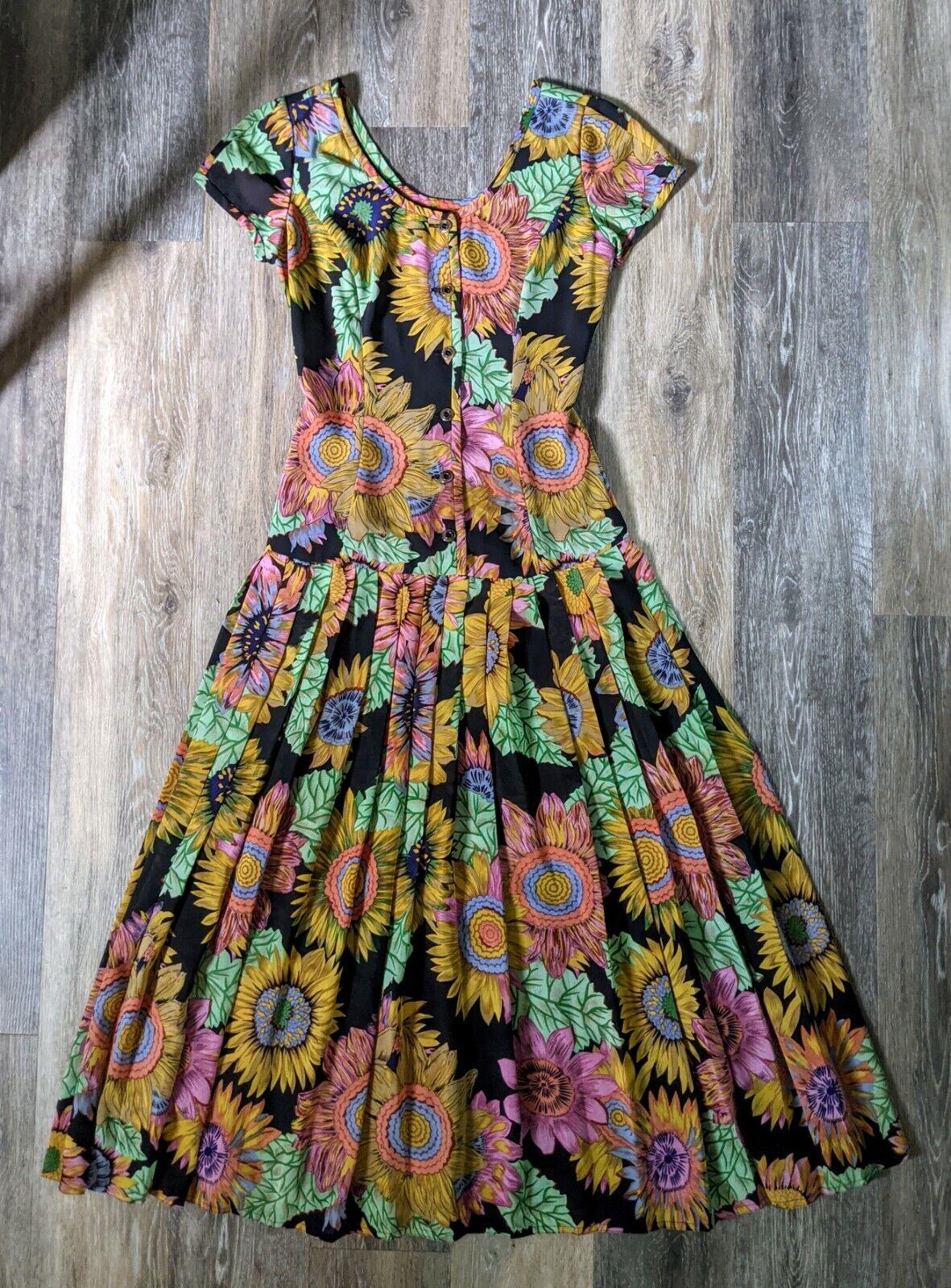 Vtg 90's Midi Dress Sunflowers RARE! Sundress Flo… - image 2