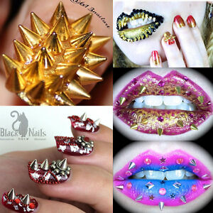 10pcs Punk Stunning Cone Spikes Studs Charms 3d Nail Art Manicure