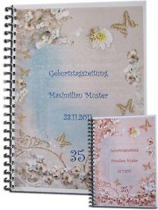 Geburtstag-s-Zeitung-Geschenk-Karte-40-50-55-60-65-70-75-80-85-90-95-Veilchen