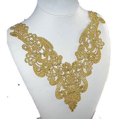 Gold Metallic Floral Venise Yoke Sew on Applique x 1