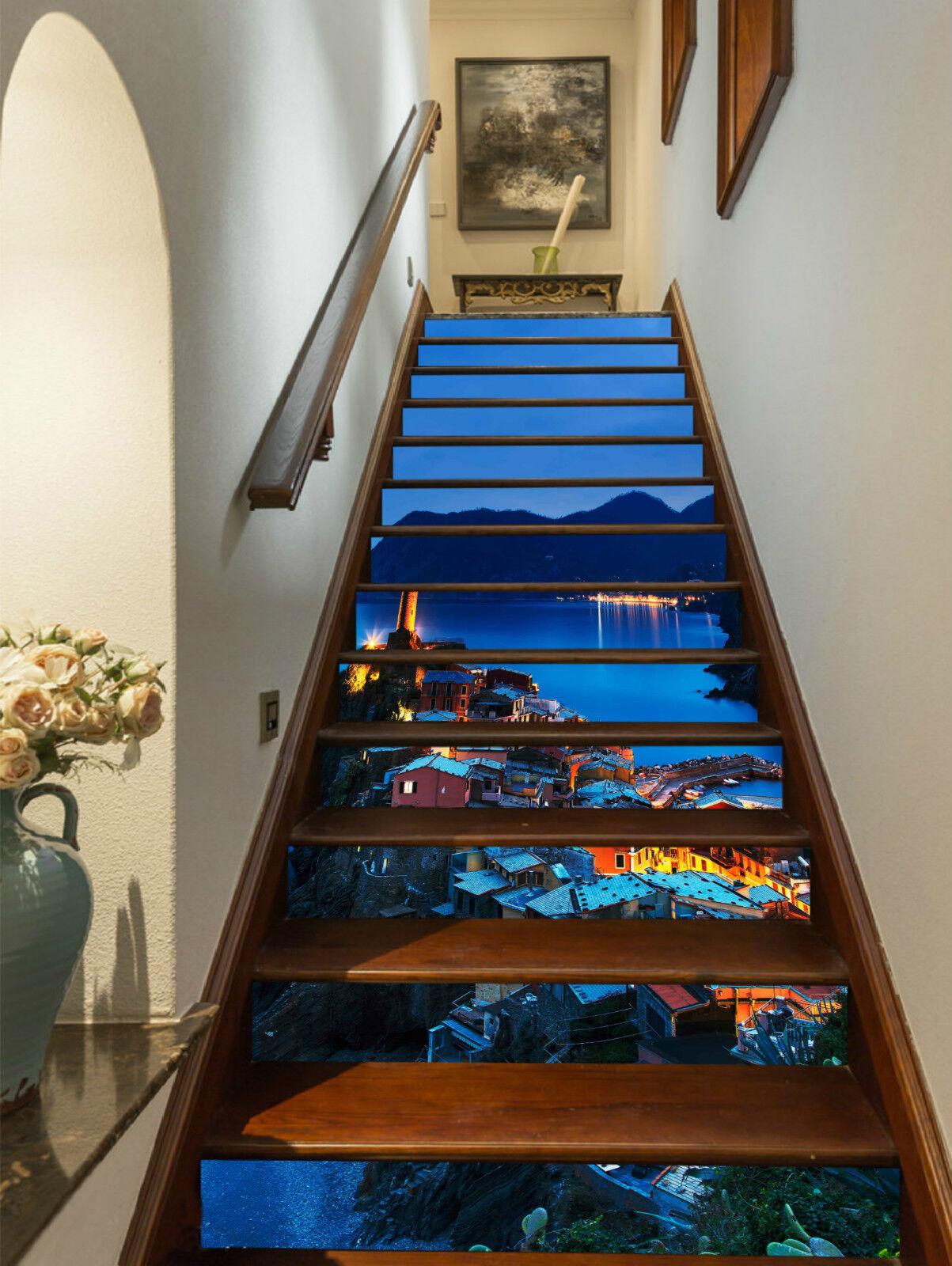 3D Nacht Stadt 3265 Stair Risers Dekoration Fototapete Vinyl Aufkleber Tapete DE