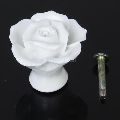 White Rose Flower Ceramic Pull Handle Cabinet Cupboard Drawer Dresser Knob Decor