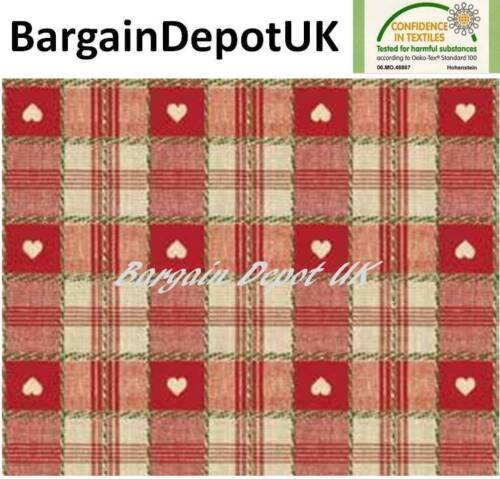 C57-1 Red Heart Check PVC Wipe Clean Vinyl Tablecloth ALL SIZES Code