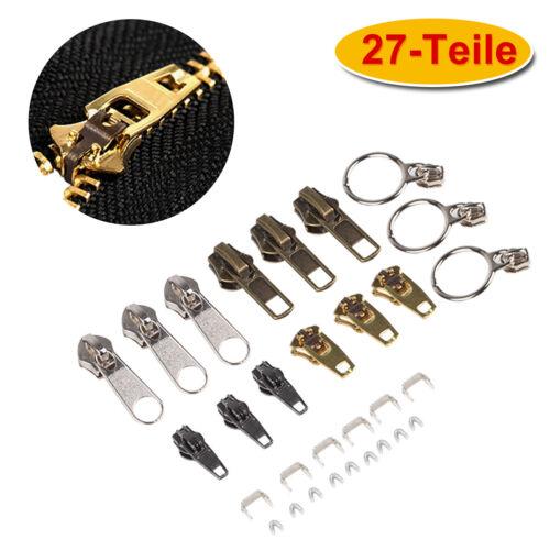 Greifringe Metall Reißverschluss Reparatur Set 27 Teilig Zipper Schieber inkl