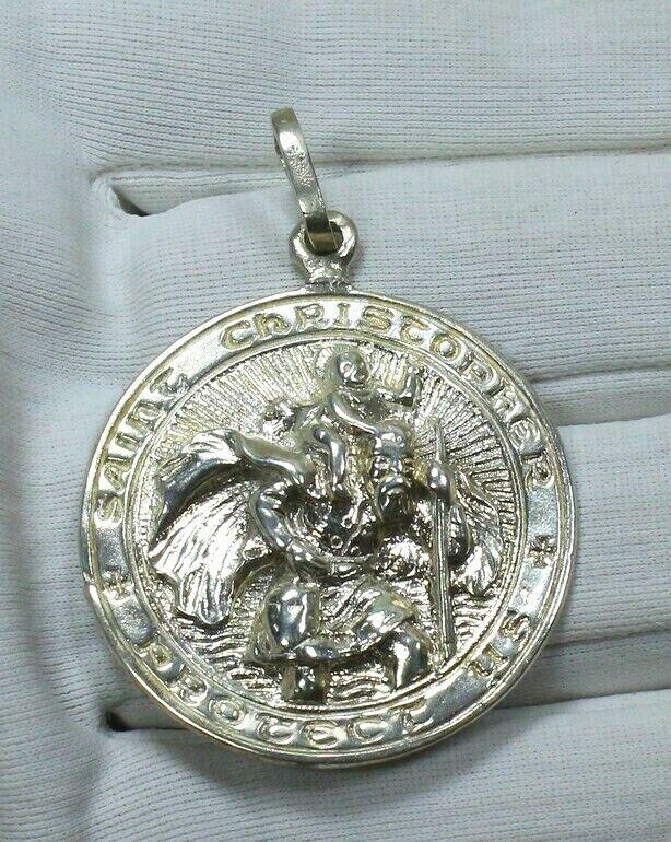 Large Vintage Holy Family Jesus Mary Joseph Saint St Christopher Cross Shaped Religious Medal Pendant Heavy Worn Rustic