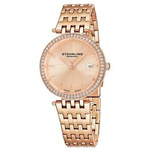 Stuhrling-Garland-Women-039-s-34mm-Rose-Gold-Steel-Bracelet-amp-Case-Date-Watch-579-04