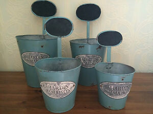 Shabby-Chic-Set-of-4-Metal-Painted-Plant-Pots-with-Chalkboard-Labels
