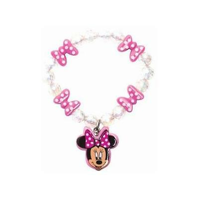 Disney 491684U Minnie Mouse Beaded Bracelet With Minnie Mouse Charm And Bows New