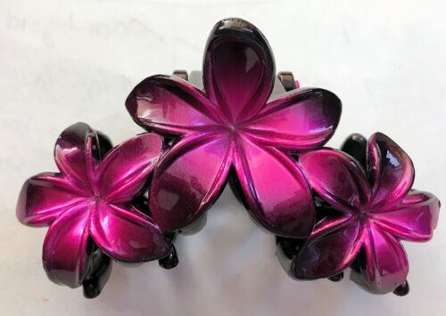 NEW Medium Hawaiian Plumeria Pink Triple Flower Plastic Hair Jaws Clip Claw