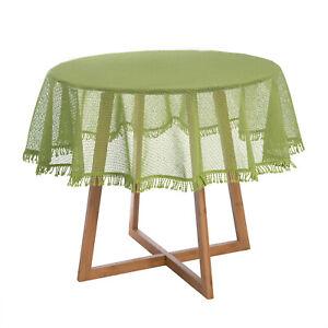 Gartentischdecke mit Fransen Weichschaum Decke Wetterfest Eckig Weiß 130x160 cm