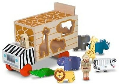 Melissa and Doug - Animal Rescue Shape Sorting Truck NEW * wooden toy shapes