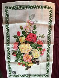 The-Royal-National-Rose-Society-HT-ROSES-Floral-TEA-TOWEL-100-Irish-Linen-Retro