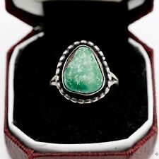 Antique Vintage Sterling Silver Native Pawn Navajo Carico Lake Turquoise Ring 5