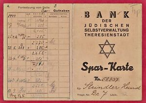 WW2 HOLOCAUST Savings Book Of the Jewish Bank in Theresienstadt Ghetto MEGA RARE