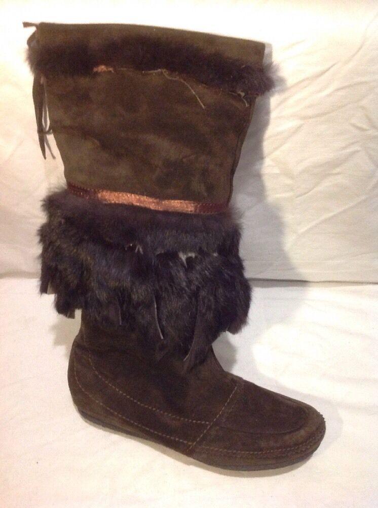 ASH Dark Brown Knee High Suede Boots Size 39