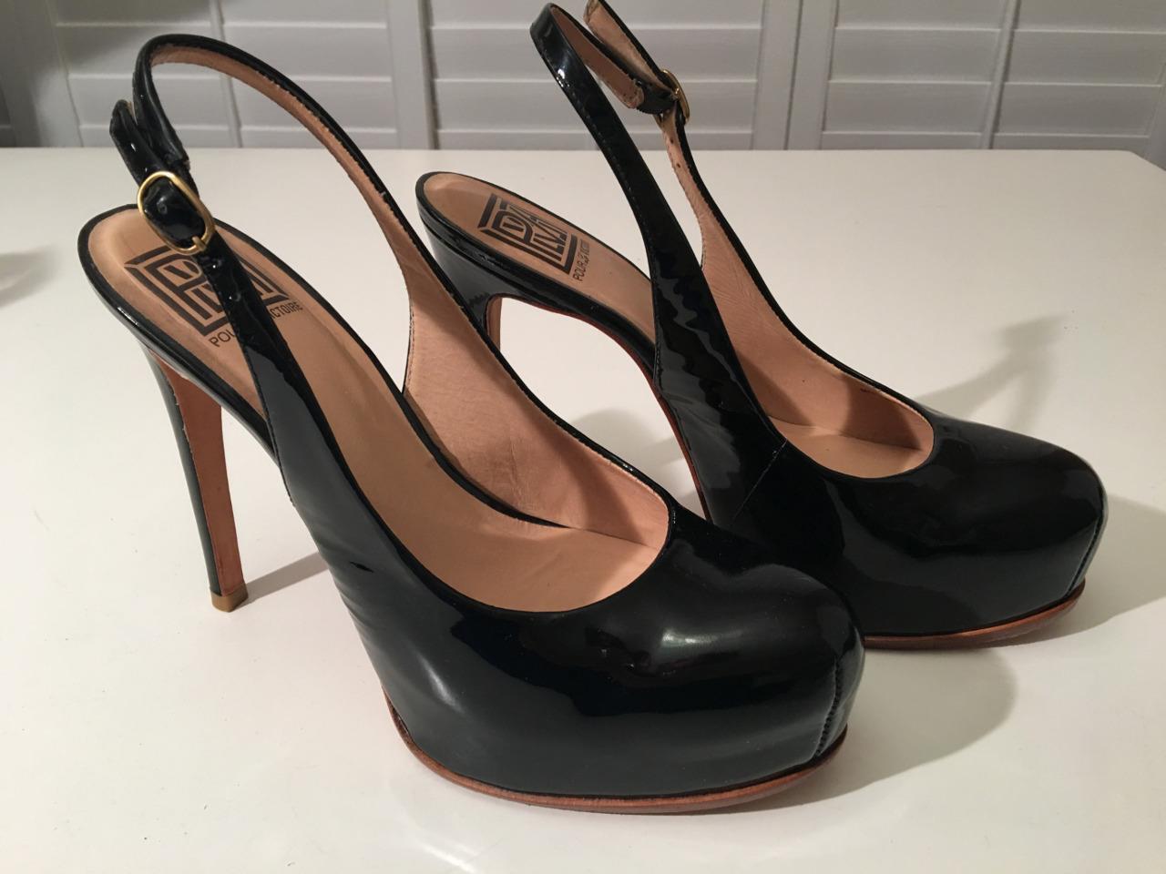 Auth pour la Victoire Charol Charol Charol Negro Charol Plataforma Zapatos De Salón Talla 8 b90de3