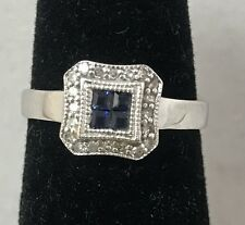.25 TCW Natural Sapphire & Diamond 14K White Gold Ring Size 6