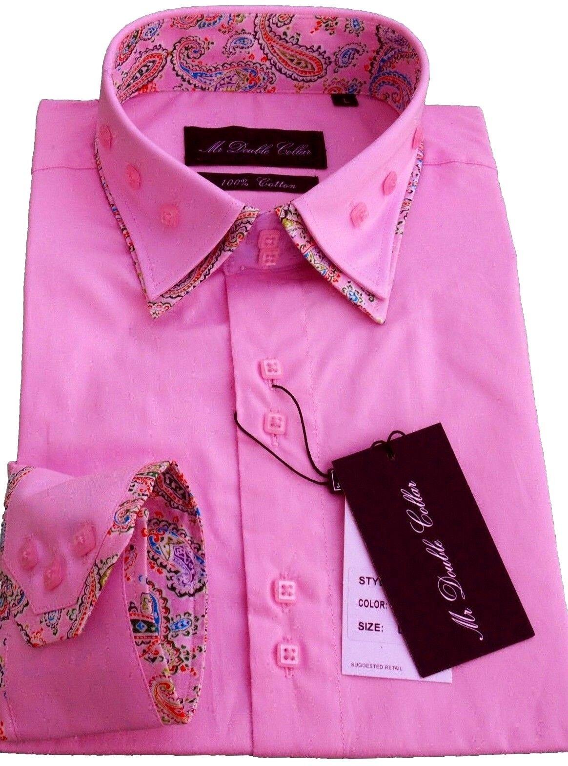 Camicia da Uomo Casual Elegante Formale rosa Confetto con Motivo Cachemire