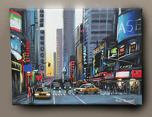 PETE-RUMNEY-ORIGINAL-OIL-PAINTING-039-42nd-STREET-NEW-YORK-039-YELLOW-TAXI-CABS-NYC