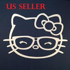 Hello Kitty W Eye Glasses Car Sticker Emblem Label / LapTop / iPad Stick #8