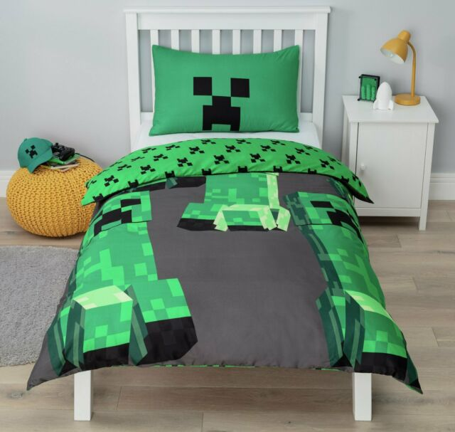 Official Minecraft Creeper Kids Single Reversible Duvet Cover Set Boys Bedding For Sale Online Ebay