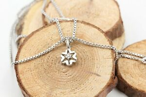 Diamant-Weissgold-Collier-333-8K-Laenge-45cm-Halskette-Anhaenger-1-Achtkant-0-02ct