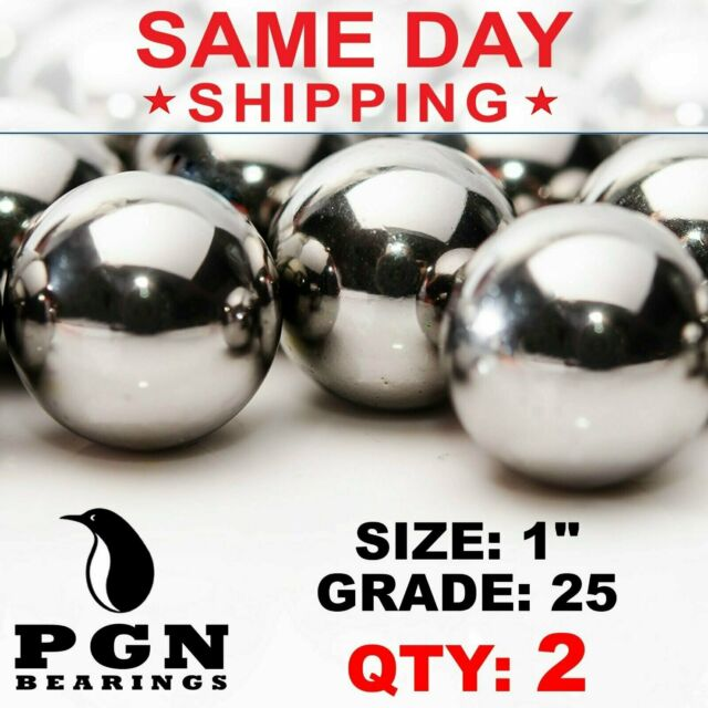 """Two 1/"""" Inch G25 Precision 440 Stainless Steel Bearing Balls"""