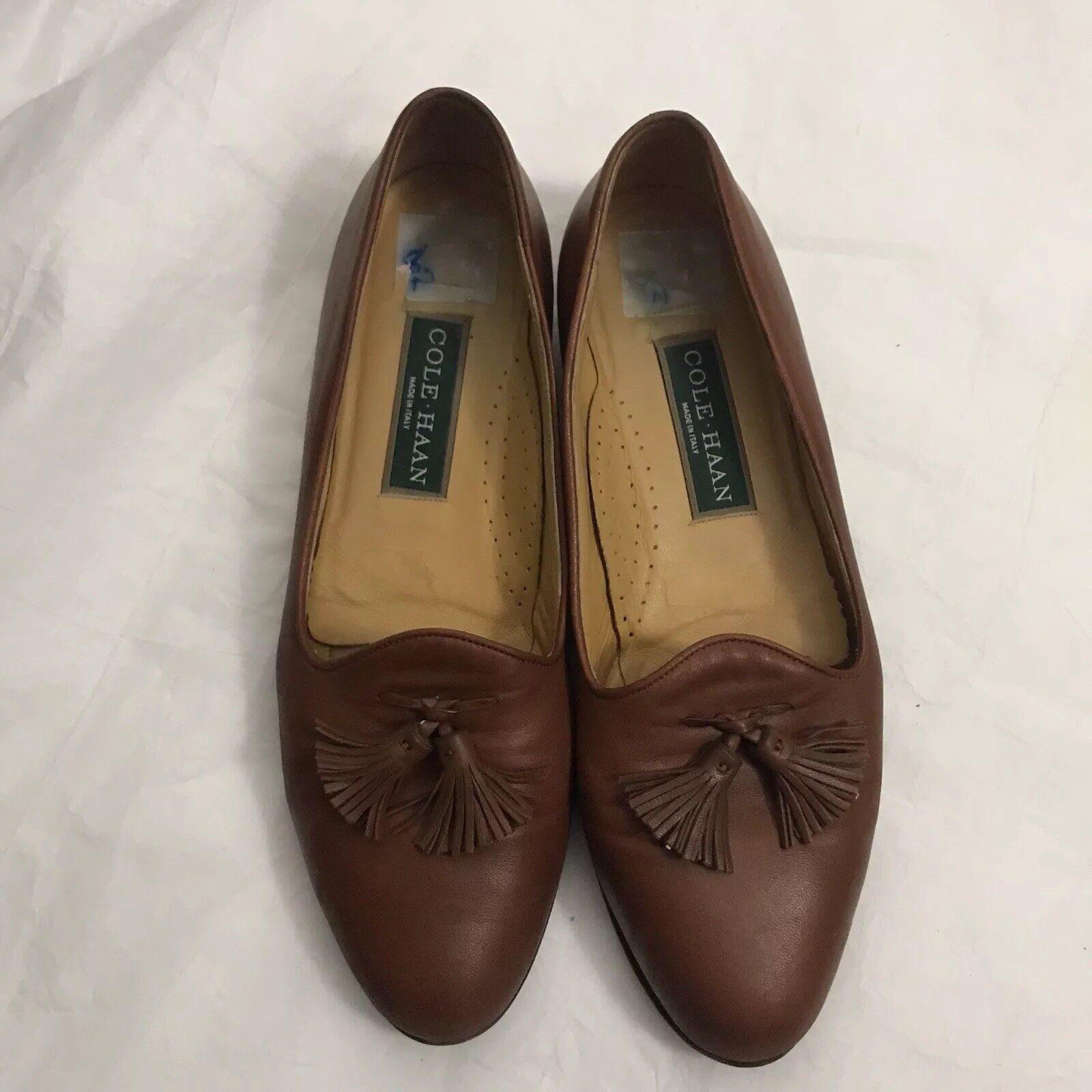 8ec97a20975 Cole Haan Italy Brown Tassel Loafer Shoe Womens Size 8 AA Narrow Worn  Leather for sale online