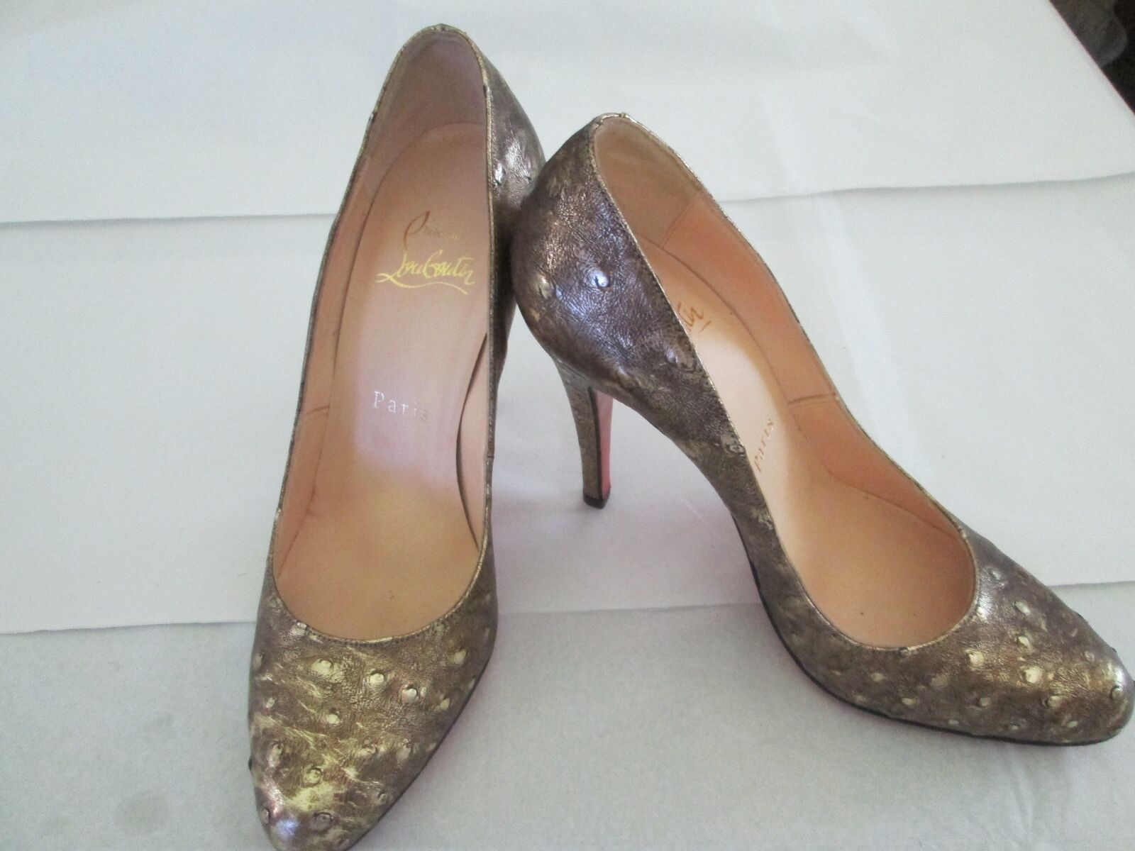 Christian     Louboutin  gold color Ostrich  Leather Slim Heel shoes Size 36.5 e0ca71