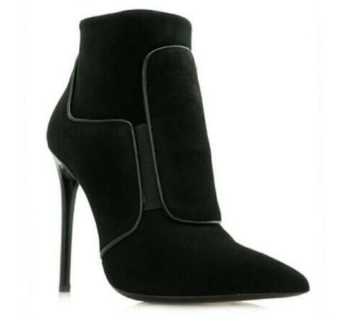 Details about  /Women Pointy Toe Stilettos High Heels Zipper Suede Ankle Boots Suede Party Shoes