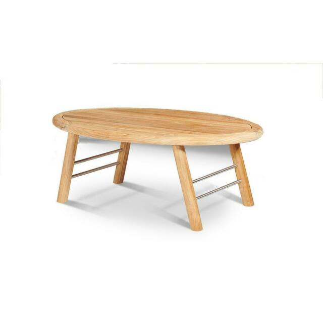 Elip Wood Coffee Table Oval Shaped Outdoor Weather ...