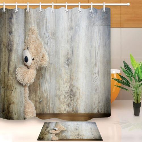 Tela Impermeable escondido Oso De Peluche De Forro de cortina de ducha Ganchos Mat Conjunto de Baño