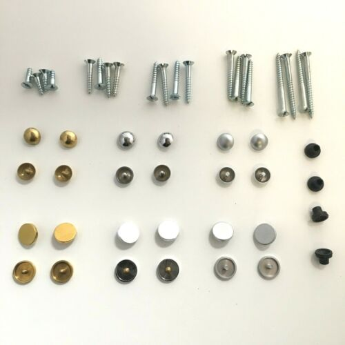 Chrome /& Satin Finish Choice of Dome or Disc Caps in Brass Mirror Screws