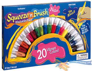 SQUEEZE-N-Brosse-enfants-non-toxique-LAVABLE-2-en-1-tubes-de-peintures