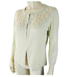 Banana-Republic-Sweater-M-Green-Beaded-Cardigan-3-4-Sleeve-Retro-Style