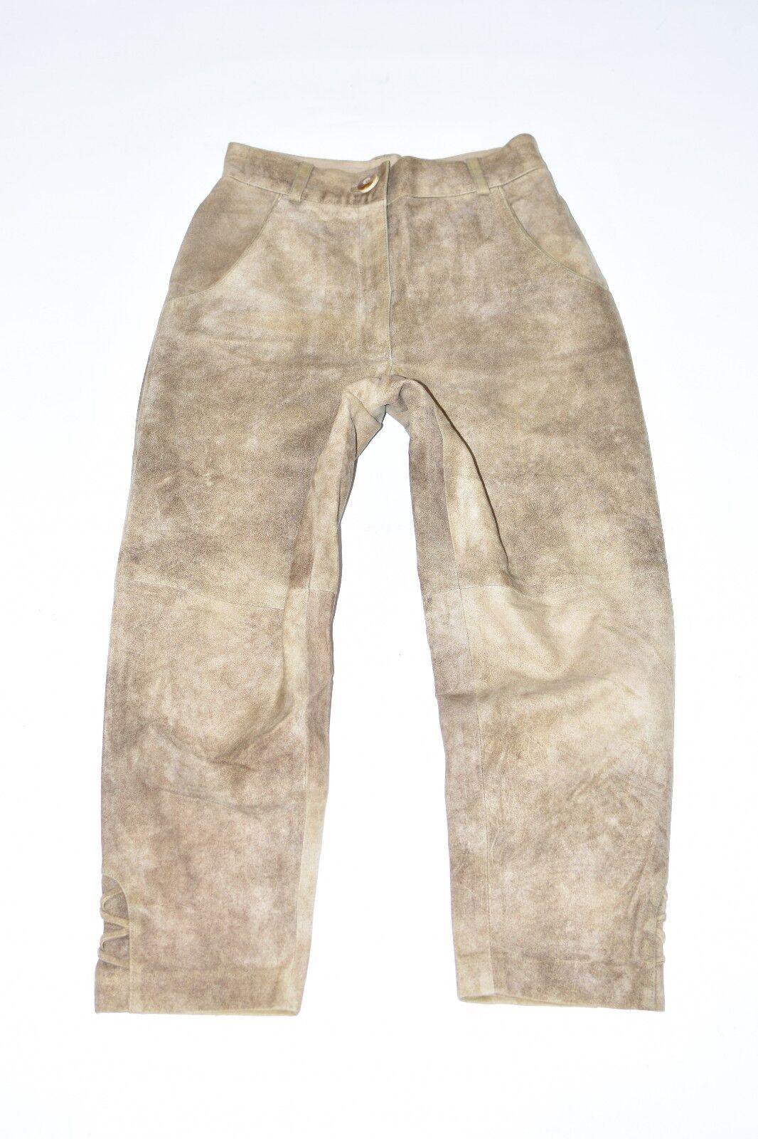 Brown Leather SPIETH&WENSKY Straight Biker Women's Trousers Pants Size W25  L23