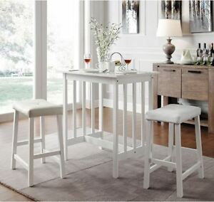 Dinette sets for small spaces 3 piece kitchen counter stools table home dining ebay - Piece dining set small spaces plan ...